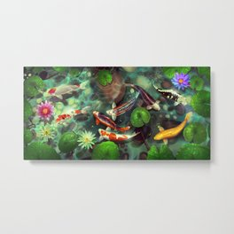 Nishikigoi - Koi - goi - Japanese carp - Kois - water lilies - Seerosen - Fisch - fish - Koi pond - japanische  Karpfen Metal Print
