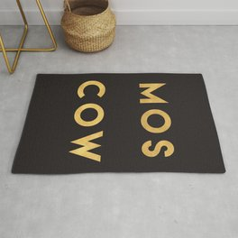 MOSCOW RUSSIA GOLD CITY TYPOGRAPHY Rug