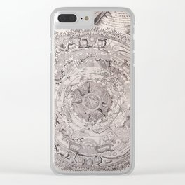 Old black and white vintage world's map 1603 Clear iPhone Case