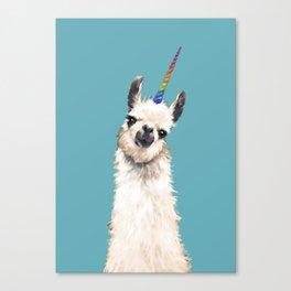 Unicorn Llama Blue Canvas Print