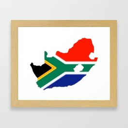 South Africa Map with South African Flag Framed Art Print