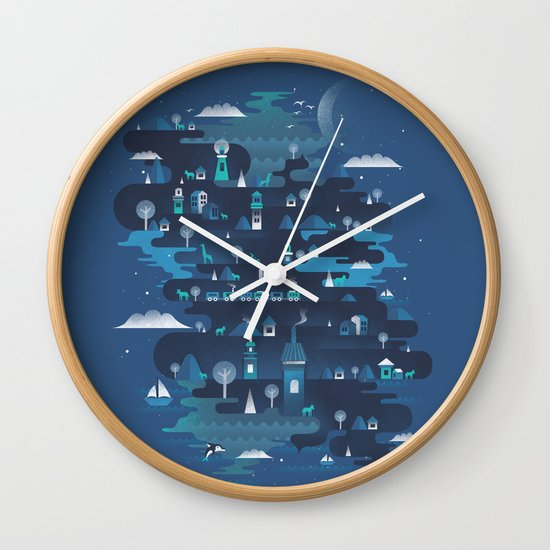 Land of the Blue Mountains Wall Clock