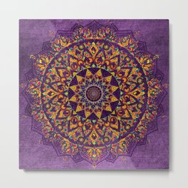 Multi-Coloured Patterned Mandala On A Purple Textured Background Metal Print