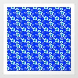 Blue Floral And Turtles Hawaiian Pattern Art Print