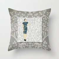 charmaine olivia Throw Pillows featuring Olivia by Aquamarine Studio