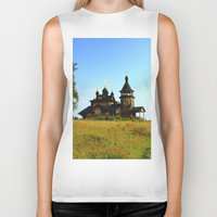 russia Biker Tanks featuring Wooden Church, Merkushino, Russia by Svetlana Korneliuk