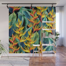 Watercolor heliconia design Wall Mural
