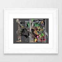 psychology Framed Art Prints featuring breaking out, psychology behaviour, borderline personality, split personality, freeing itself by Ilona Reny