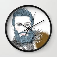 beard Wall Clocks featuring beard by katiwo