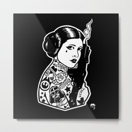 Carrie Fisher Tattooed star princess... Metal Print