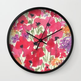 Big Red Poppy Patch Wall Clock