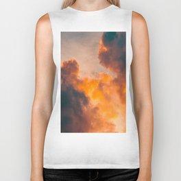 Beautiful Orange Whimsical Clouds Cotton Candy Texture Sky Cloud Photo Renaissance Painting Biker Tank