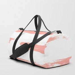 Pretty Pink Brush Stripes Horizontal Duffle Bag