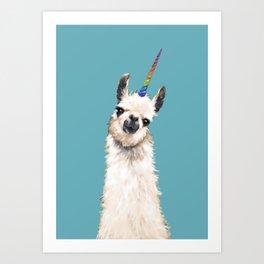 Unicorn Llama Blue Art Print