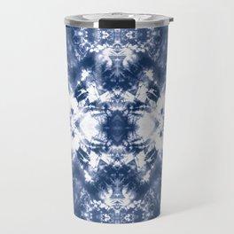 Shibori Tie Dye 4 Indigo Blue Travel Mug