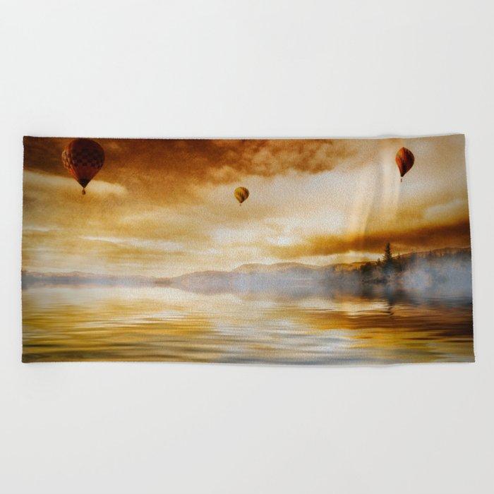 Hot Air Balloon Escape Beach Towel