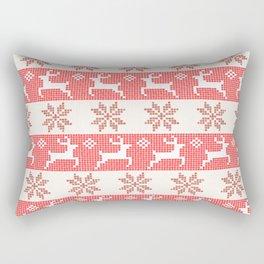 Watercolor Fair Isle in Red Rectangular Pillow