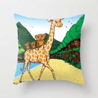 monkey island Throw Pillows featuring Monkey Island! by illustratorlam