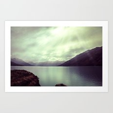 Lake mountain light Art Print