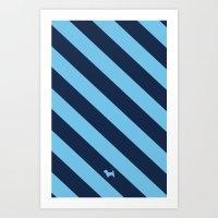 Preppy & Classy, Navy Blue / Blue Striped Art Print