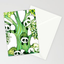 Green Panda Tree Stationery Cards