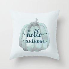 hello autumn blue pumpkin Throw Pillow