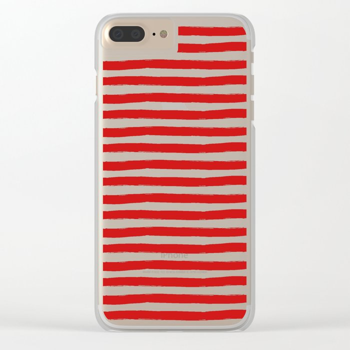 Red Horizontal Stripes Clear iPhone Case