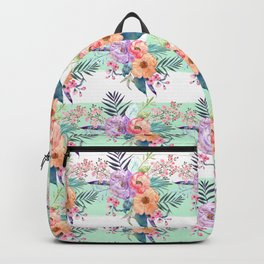 Watercolor Boho floral, tropical leaves, stripes hand paint Backpack