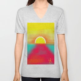 HOT SUNSET Unisex V-Neck