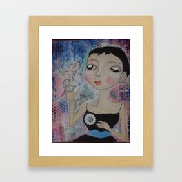 Girl with bird Framed Art Print