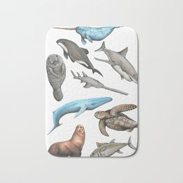 Endangered Sea Creatures Print Bath Mat