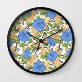 Blue Roses and Crystals Pattern Wall Clock