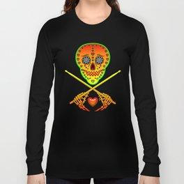 Neon Sugar Skull Drummer. Long Sleeve T-shirt