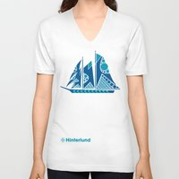 sailboat V-neck T-shirts featuring Sailboat by Hinterlund