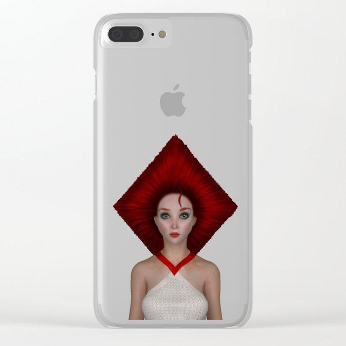 Queen of diamonds portrait Clear iPhone Case
