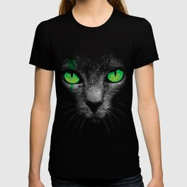 Black Cat with Green Eyes T-shirt