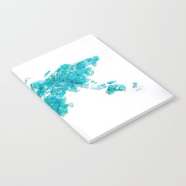 Turquoise Sea Glass World Map Notebook