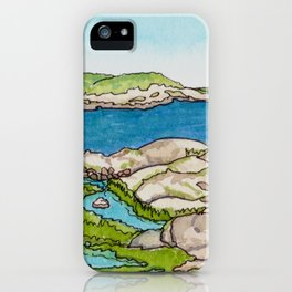 Peggy's Cove Watercolour Painting Backside iPhone Case