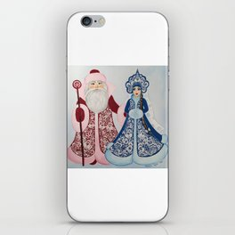 Father Frost and Snow Maiden in petrykivka style iPhone Skin