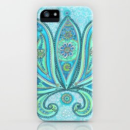 Lotus Blue Painting, Lotus drawing Illustration iPhone Case