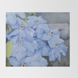 Blue Clematis Flowers on Knotted Fence Post Throw Blanket