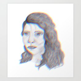 "SERIOUS - pencil illustration ""screen print"" Art Print"