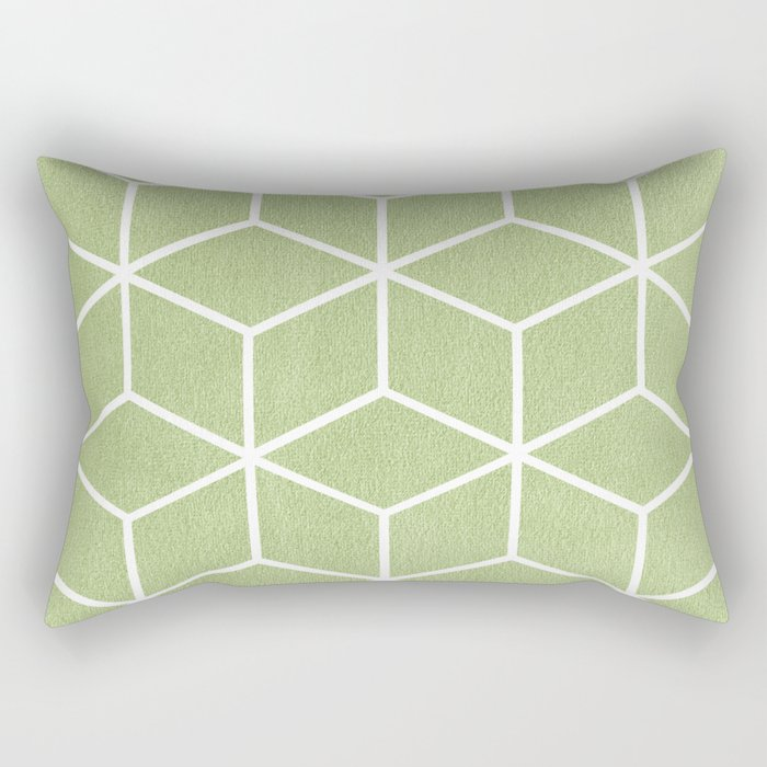 Lime Green And White Geometric Textured Cube Design Rectangular