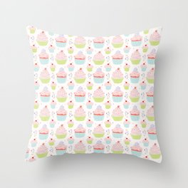 Pastel Cupcakes Food Vector Pattern Throw Pillow