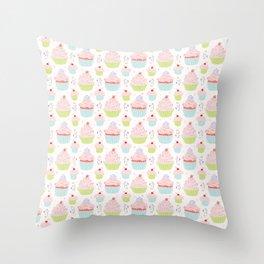 Pastel Cupcakes Food Vector Pattern Throw Pillow