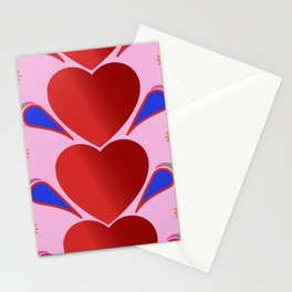 Hearts in line Stationery Cards