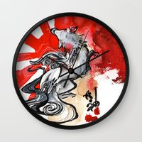 okami Wall Clocks featuring OKAMI by Rubis Firenos
