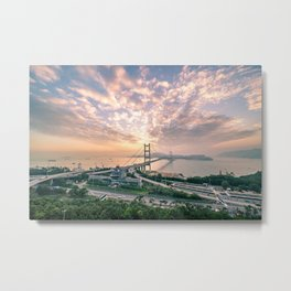 Hong Kong Landmark Tsing Bridge at sunset Metal Print