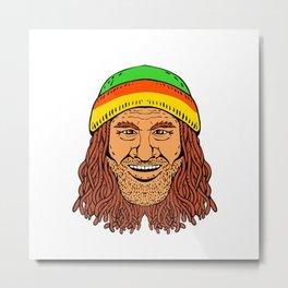 Rastafarian Head Front Drawing Color Metal Print