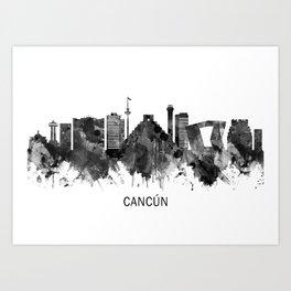 Cancun Mexico Skyline BW Art Print